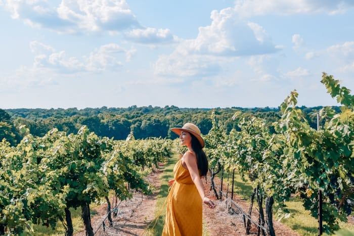 girl twirling in vineyard