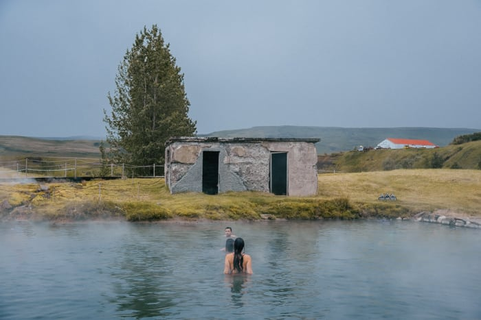 Enjoying the hot spring at the Secret Lagoon Hot Spring in Iceland