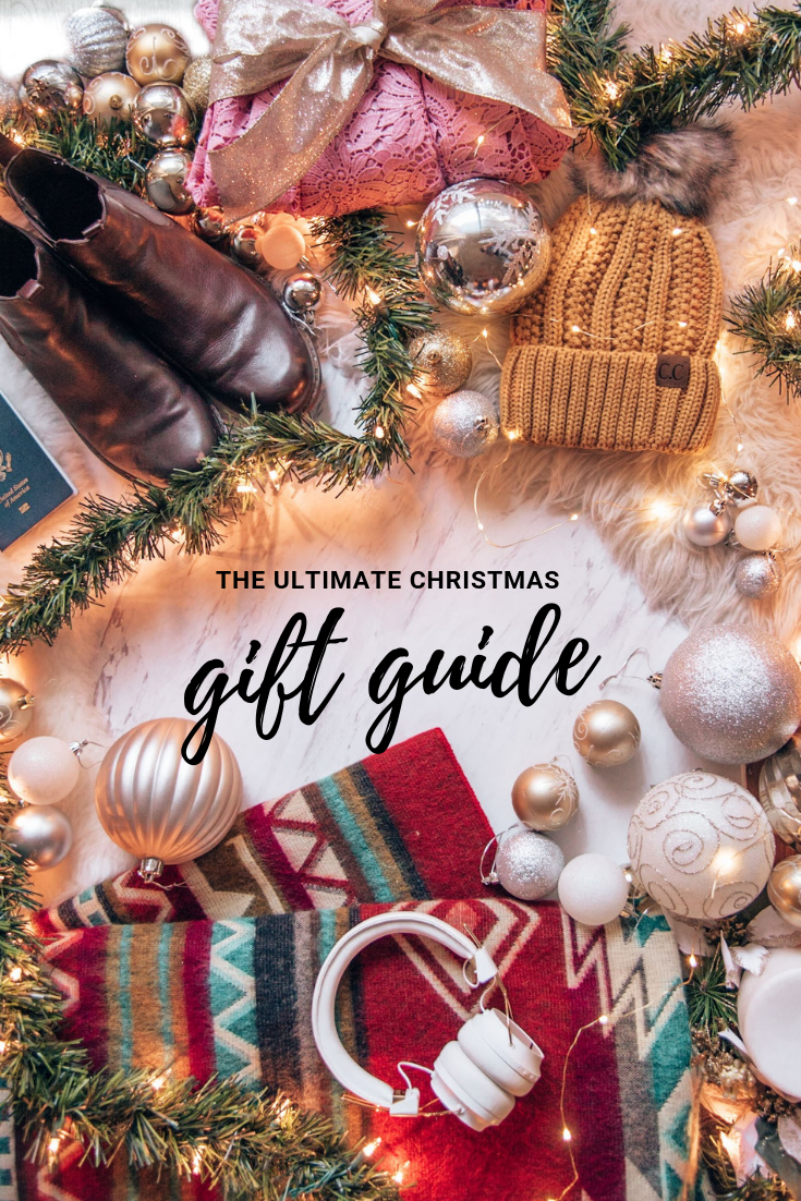 This Christmas gift guide is for the best gifts for him and for her this holiday season. This ultimate gift guide will show you fun stocking stuffers, creative gifts, and plenty of gift ideas you haven't thought of yet. Prices range from budget friendly to fancy gifts, so no matter your Christmas budget you'll find present ideas for everyone.  I've included a section for travelers as well, for that person who is always off on an adventure. #giftguide #christmasgift #holidaygift #2018giftguide