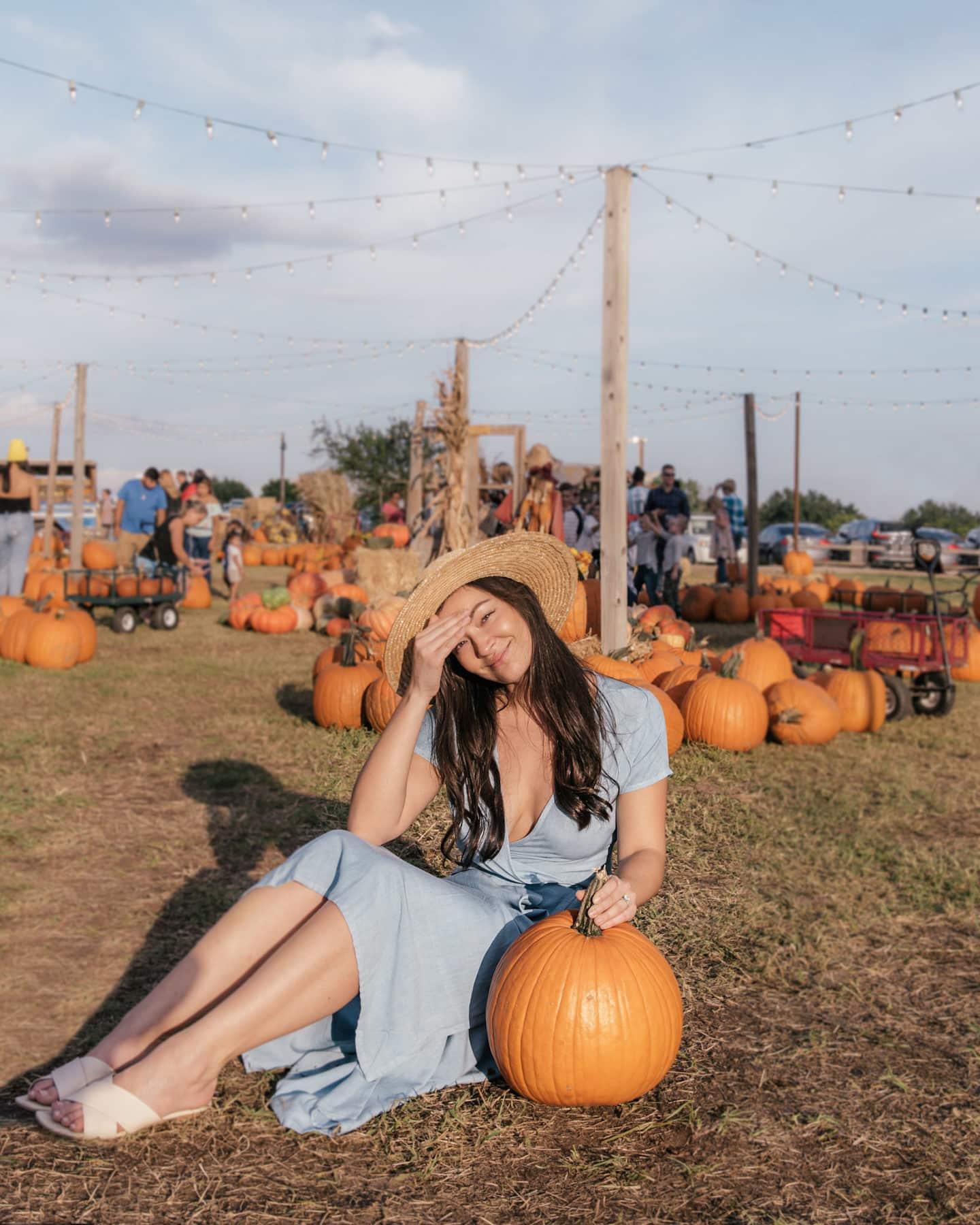 girl sitting with pumpkin at halls pumpkin farm