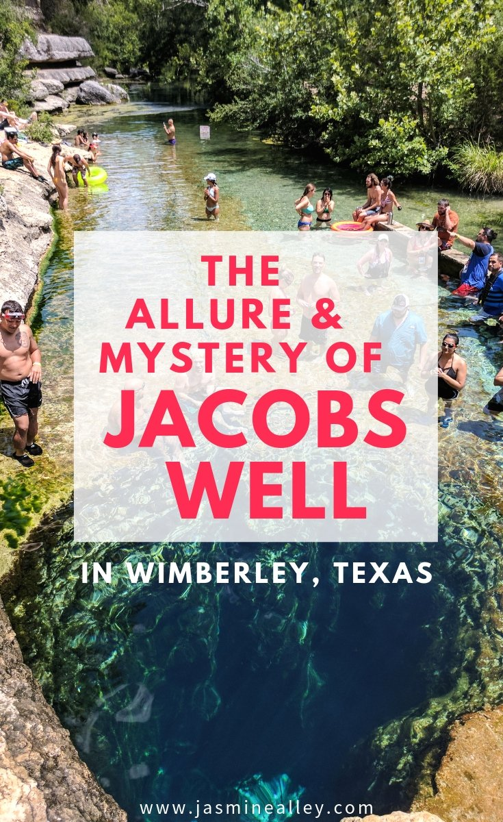 Looking for things to do near Austin or fun places to visit on a Texas Hill country roadtrip? Check out this gorgeous hidden gem in Wimberly, TX! Jacob\'s Well is a deep spring that has a curious and dangerous history. Learn more about it and plan your trip to Jacob\'s Well here! You won\'t want to miss this fun and beautiful swimming hole on your vacation! #texashillcountry #austin #texas #jacobswell #roadtrip