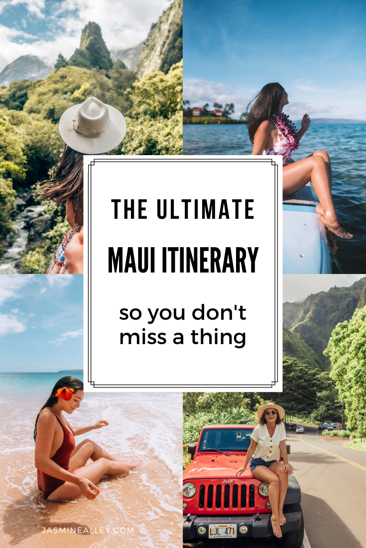 Heading to Maui, Hawaii? Here\'s the ultimate Maui itinerary, with a map of locations, so you don\'t miss a thing! Full of the best things to do in Maui like the Road to Hana and a trip to Lahaina, as well as great photography locations, food, beaches, and hikes, this itinerary has it all! Make the most of your Hawaiian vacation! I compiled this list after extensive research and after following my itinerary during a week in Maui- it was one of the most epic trips of my life! #maui #hawaii #mauihi
