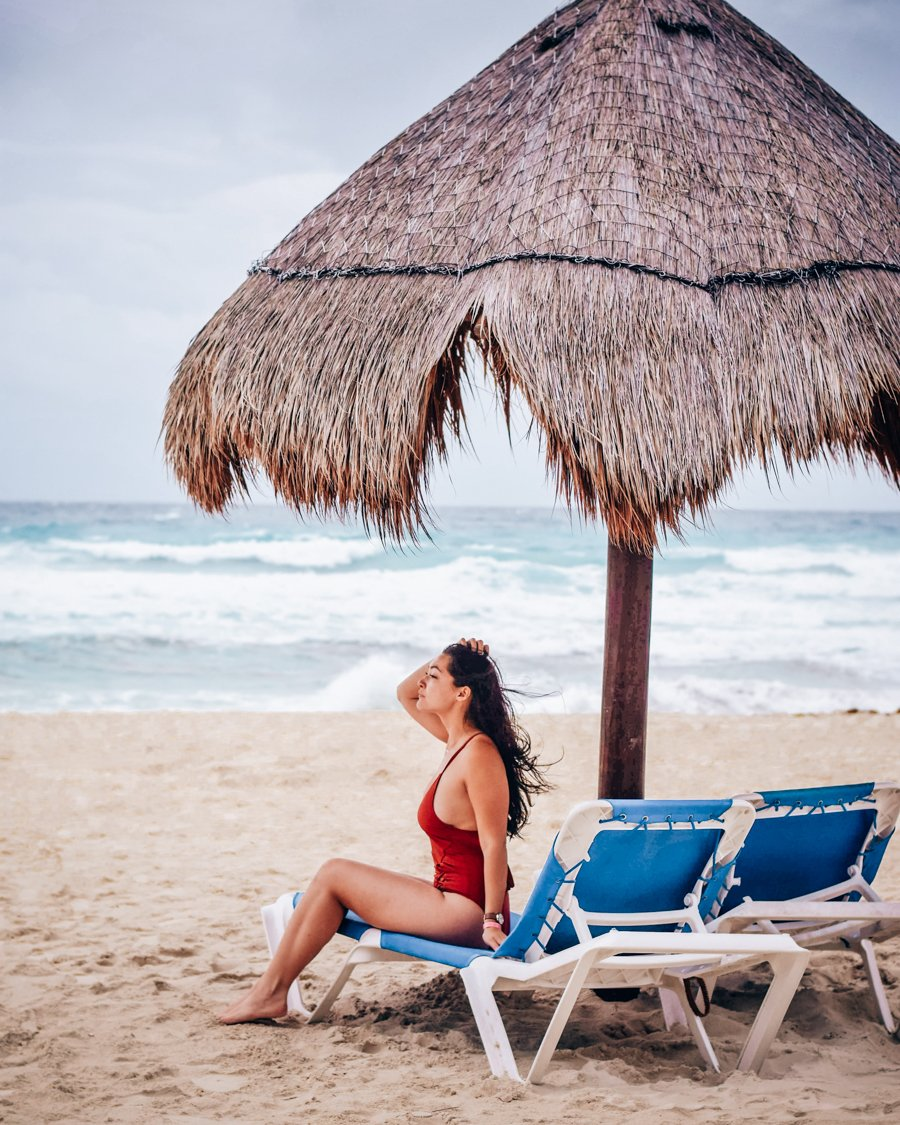 Relaxing on the Beach in Cancun, Mexico.