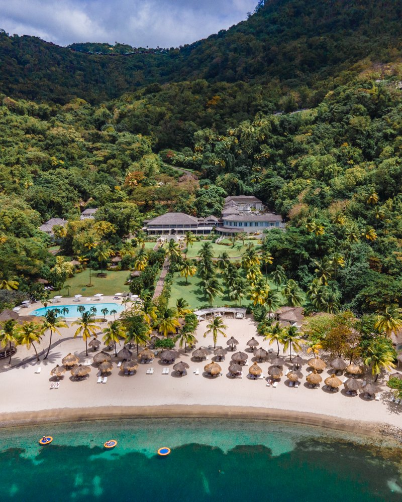 sugar beach, a viceroy resort drone shot